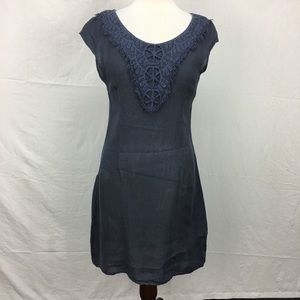 Lina Tomei Navy Linen Embroidered Dress
